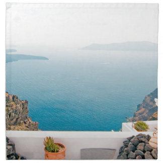View in Santorini island Napkin