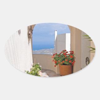 View in Santorini island Oval Sticker