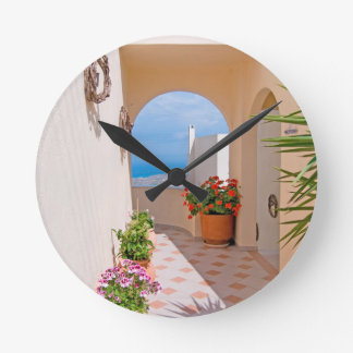 View in Santorini island Round Clock