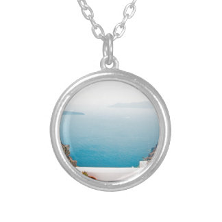 View in Santorini island Silver Plated Necklace