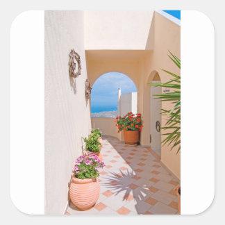 View in Santorini island Square Sticker