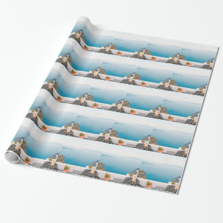 View in Santorini island Wrapping Paper