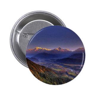 View Landscape  : HIMALAYA POKHARA NEPAL 2 Inch Round Button