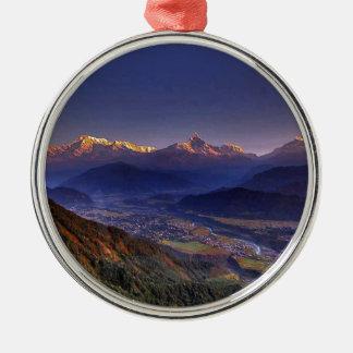 View Landscape  : HIMALAYA POKHARA NEPAL Silver-Colored Round Ornament