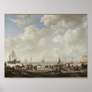 View of a Beach ,Simon de Vlieger (Holland, 1600-1 Poster