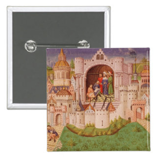 View of a city with labourers paving roads 2 inch square button