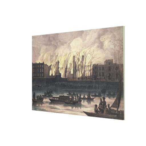 View of a fire at Whitehall Palace Stretched Canvas Prints