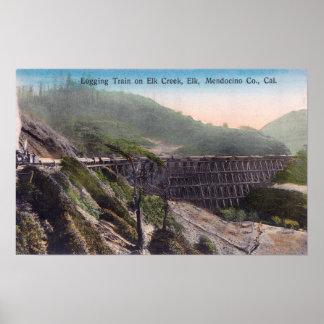 View of A Logging Train over Elk Creek Bridge Poster