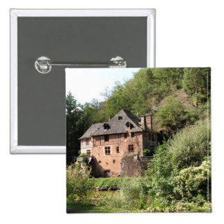 View of a manor house (photo) pinback button
