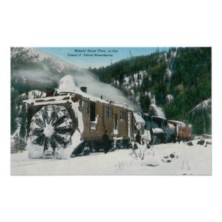 View of a Rotary Snow Plow in the Mountains Poster