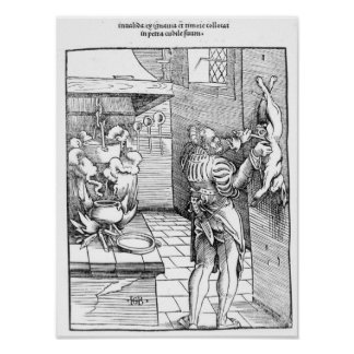 View of a sixteenth century kitchen with cook poster