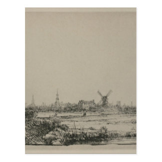 View of Amsterdam by Rembrandt Postcard