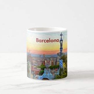 View of Barcelona at sunset from Park Guell Coffee Mug