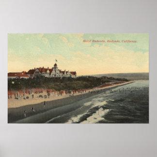 View of Beach & the Hotel Redondo Poster