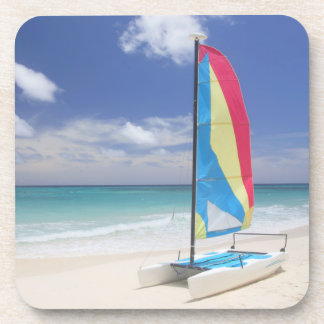 View Of Beach With Sailboat Beverage Coaster