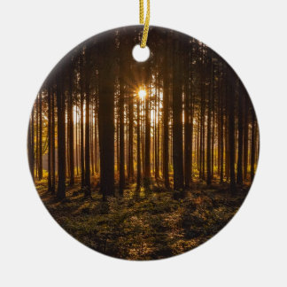 View of Black Trees and Sun Ceramic Ornament