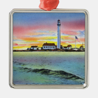 View of Boon Island and Lighthouse from York Metal Ornament