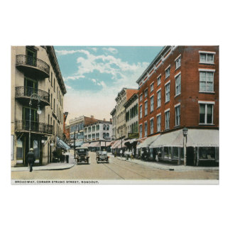View of Broadway and Corner Strand Street Poster