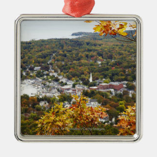 View of Camden Hills State through Fall Trees Metal Ornament