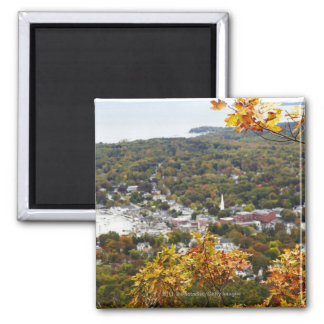 View of Camden Hills State through Fall Trees Square Magnet
