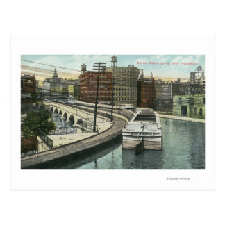 View of Canal Boats going over the Aqueduct Postcard