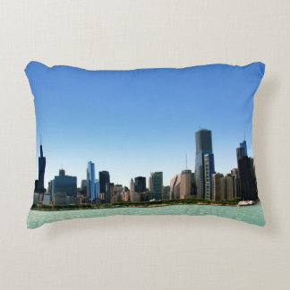 View of Chicago skyline by Lake Michigan Decorative Pillow