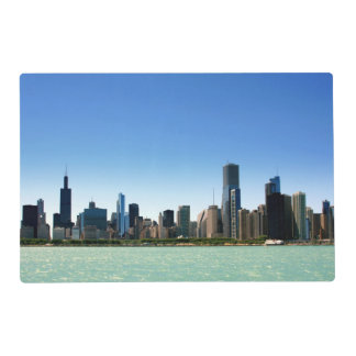 View of Chicago skyline by Lake Michigan Laminated Place Mat