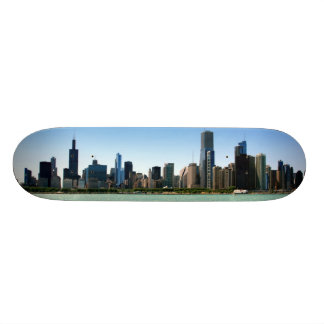 View of Chicago skyline by Lake Michigan Skateboards