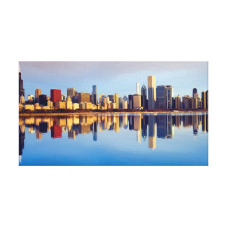View of Chicago skyline with reflection Canvas Print