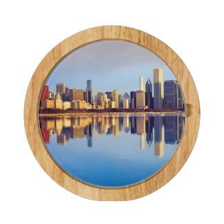 View of Chicago skyline with reflection Rectangular Cheeseboard