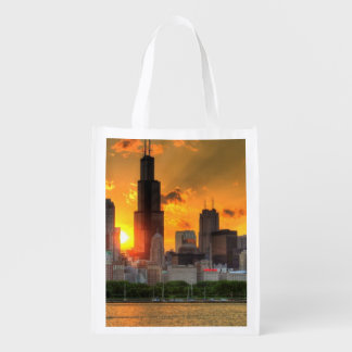 View of Chicago's skyline from  Adler Grocery Bags