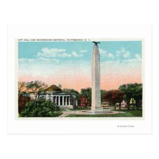View of City Hall and MacDonough Memorial Postcard