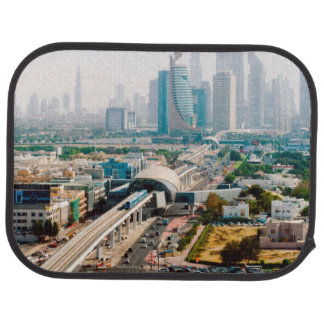 View of city metro line and skyscrapers auto mat