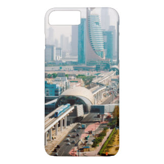 View of city metro line and skyscrapers iPhone 7 plus case