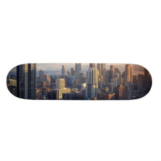 View of cityscape with fantastic light skate board