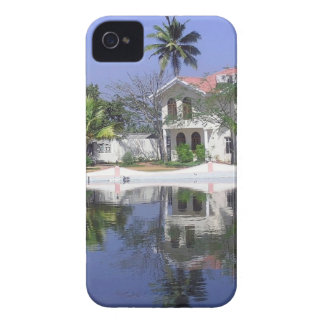 View of cottages and lagoon water in Alleppey iPhone 4 Case