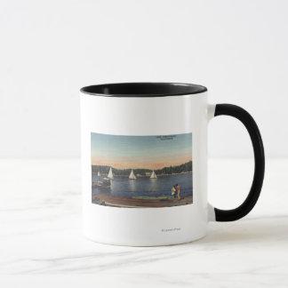 View of Dock, Lake, & Sailboats Mug