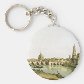 View of Dresden from the Right Bank of the Elbe Basic Round Button Keychain