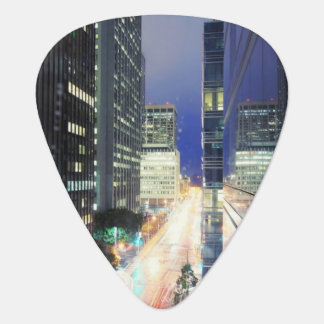 View of financial district office buildings guitar pick