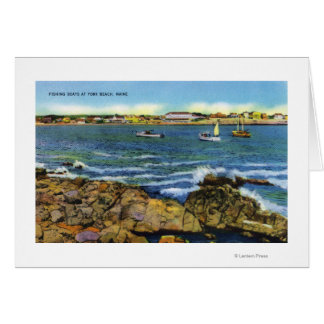 View of Fishing Boats from York Beach Card