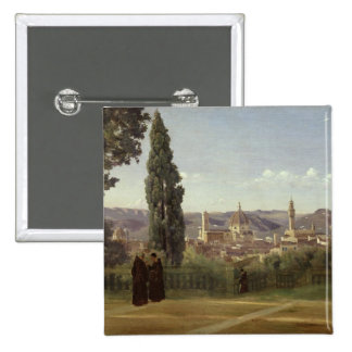View of Florence 2 Inch Square Button