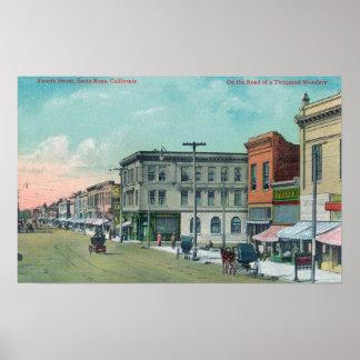 View of Fourth StreetSanta Rosa, CA Poster