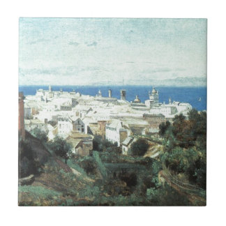 View of Genoa by Camille Corot Tile