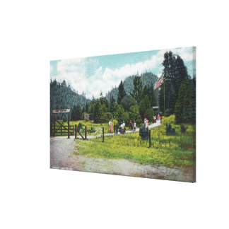 View of Guests on a Stroll through the Grounds Stretched Canvas Print