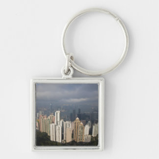 View of Hong Kong from The Peak Silver-Colored Square Keychain