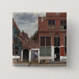 View of houses in Delft The Little Street 2 Inch Square Button