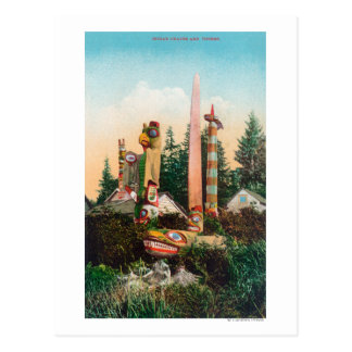 View of Indian Graves and Totempoles Postcard