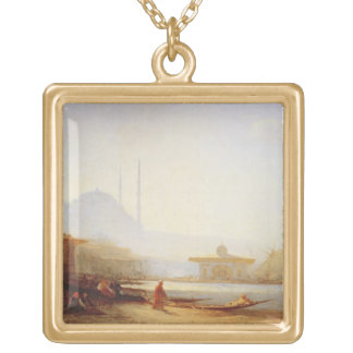 View of Istanbul, 1864 (oil on canvas) Gold Plated Necklace
