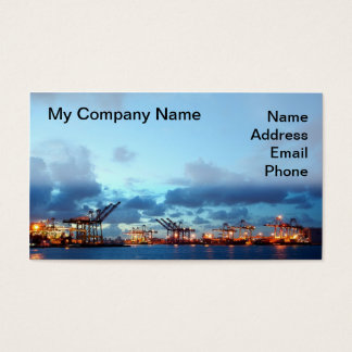 View of Kaohsiung Container Port at Evening Time Business Card