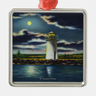 View of Lake Cobbosseecontee Lighthouse at Night Metal Ornament